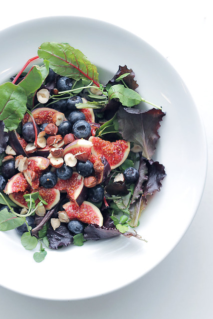 Figs, Blueberries and Mixed baby Leaves