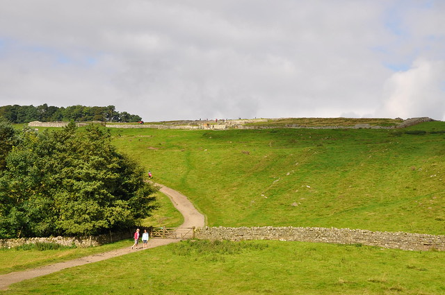 Looking up to Housesteads Roman Fort