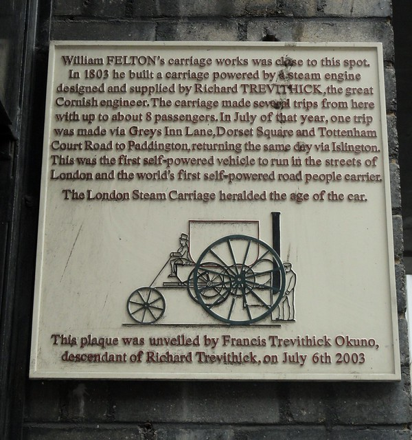 Photo of The London Steam Carriage and William Felton white plaque