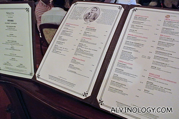 The menu in Walt's Cafe