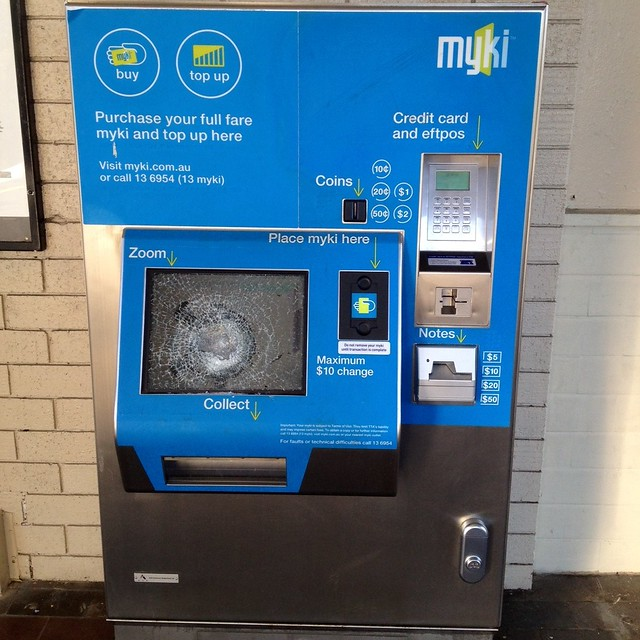 Problem of the day: Myki machine smashed