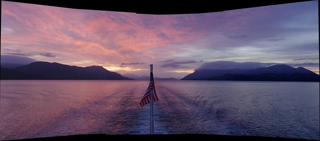 Panorama Sunrise over Alaska Inside Passage - Alaska Marine Highway ferry, MV Columbia