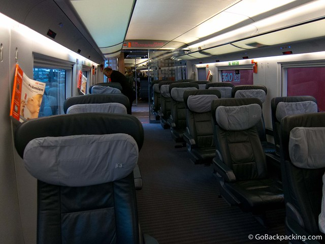 1st Class carriage on a German ICE train from Munich to Berlin