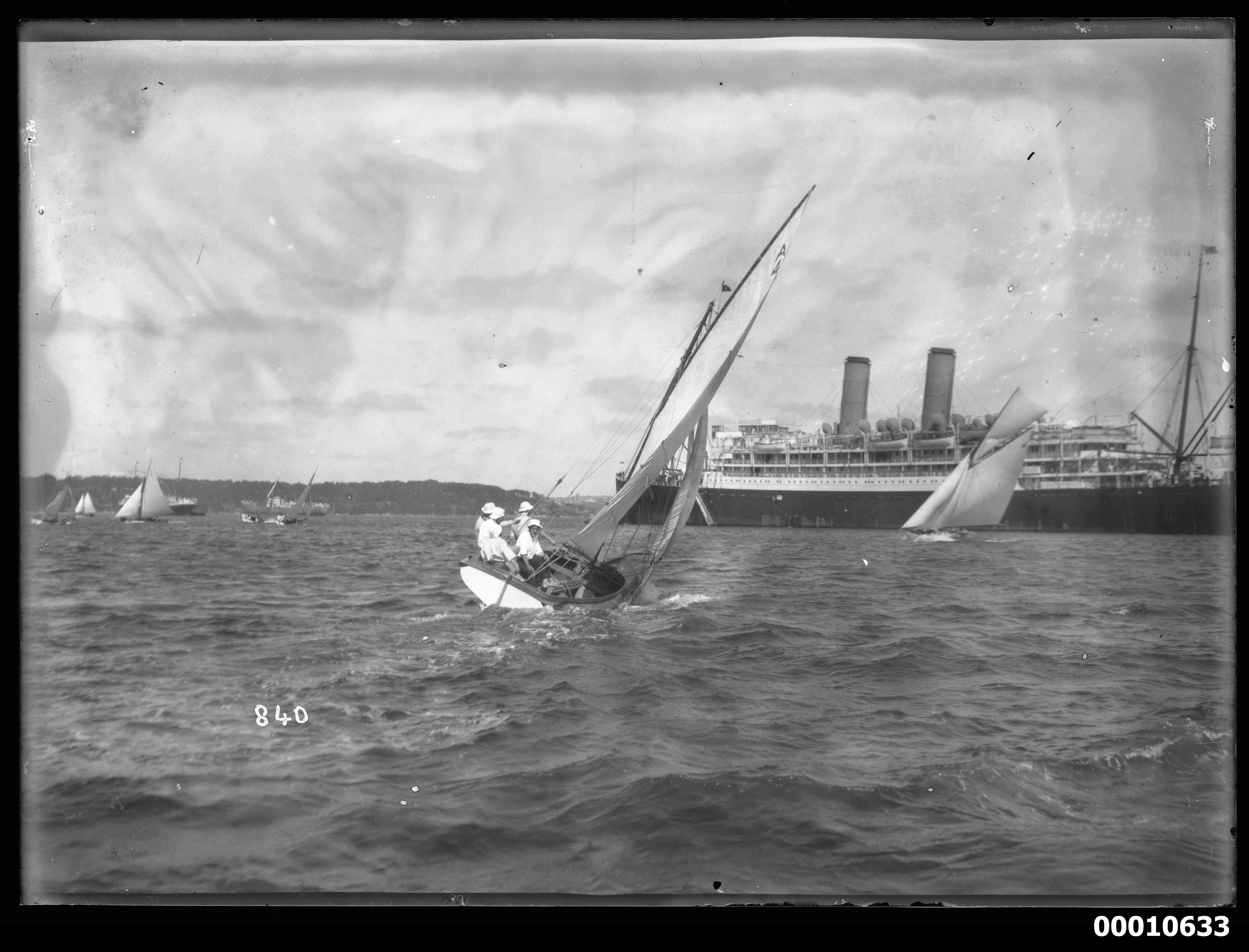 18 footer and ocean liner, Sydney Harbour
