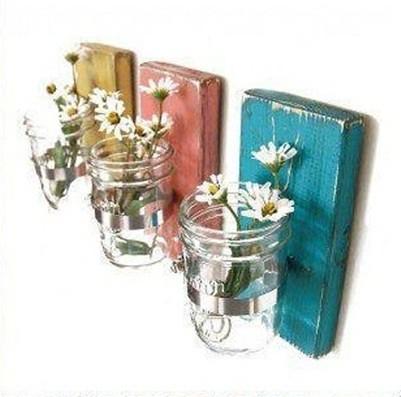 floreros en botes cristal