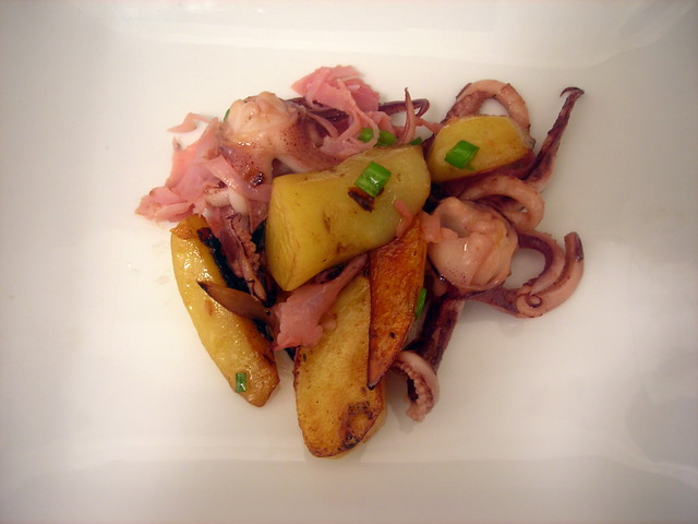 Squid, honey ham, Austrian potatoes