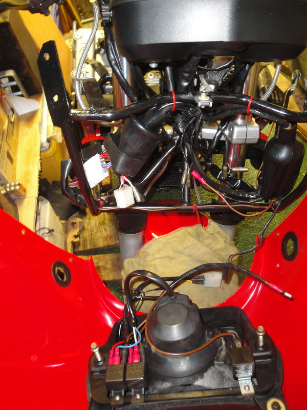 Relays in place in the cockpit fairing, wiring ready for coupling to main harness