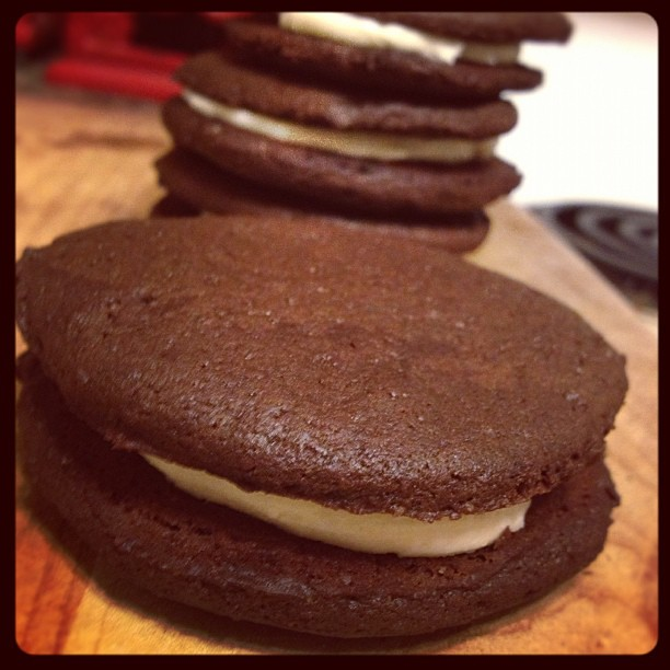 Homemade Oreos for Jay's road trip  (meanwhile, my sinuses are so stuffed I can't taste them)