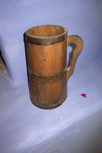 Antique wooden beer mug