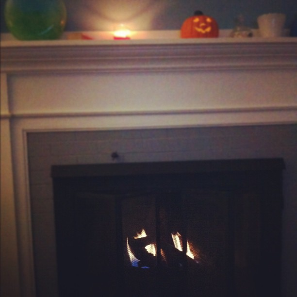 Turned on the fireplace for the first time this fall!