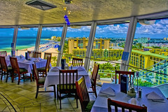 View of the St. Petersburg Beach, Florida, U.S.A. skyline from Spinners Rooftop Revolving Bistro