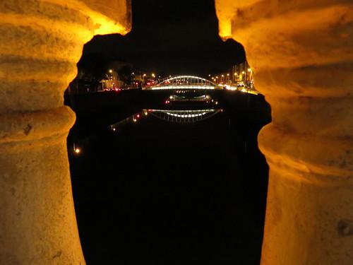 A bridge at night in Dublin, Ireland