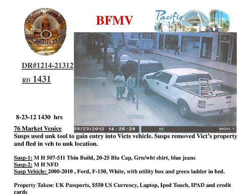burglary suspects and their truck Venice Beach