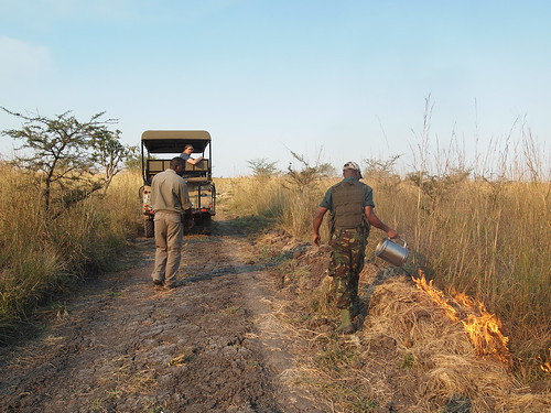 Starting controlled fires in Kafue National Park