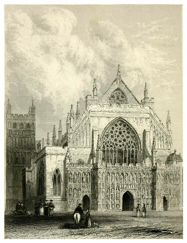 008-Catedral de Exeter vista frontal-Winkles's architectural and picturesque illustrations of the catedral..1836-Benjamin Winkles