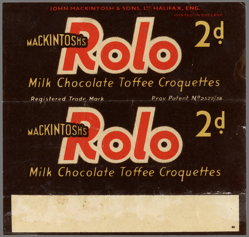 UK - Mackintosh's - Rolo - 2d chocolate candy wrapper - provisional patent - 1937 1938 by JasonLiebig