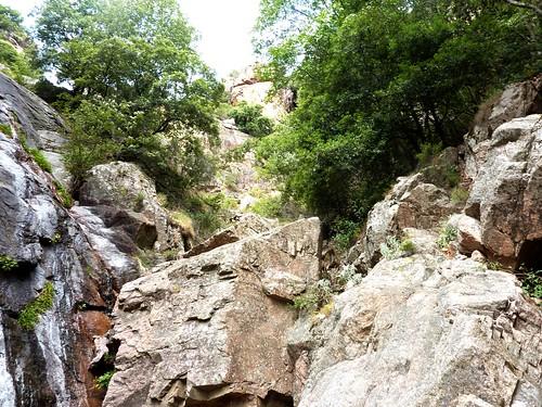Remontée du haut-Velacu : après la cascade de 30m, les dalles noires, le bloc rocheux et le boyau végétal au-dessus