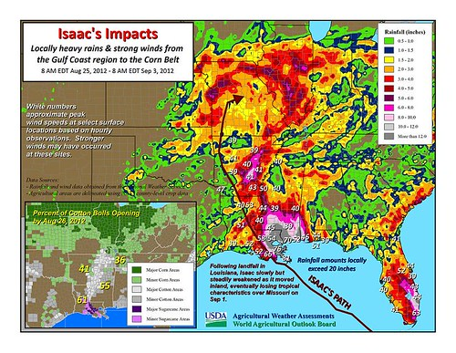 Isaac's impacts: Locally heavy rains and strong winds from the Gulf Coast region to the corn belt.
