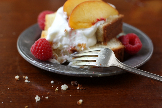 Cream Cheese Pound Cake with Honey Whipped Cream