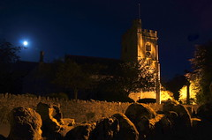 Axmouth church with moon