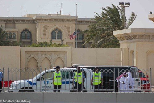 The US Embassy under the Qatari Police protection