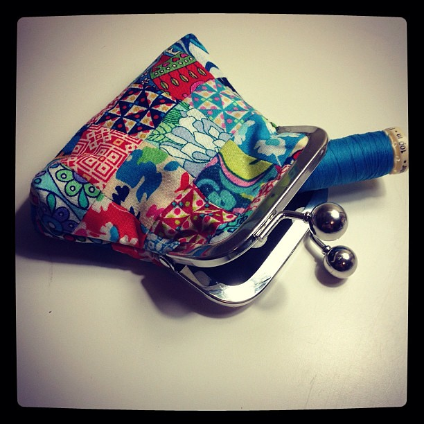 Teeny tiny Liberty pouch sample for my @sewingsummit class!