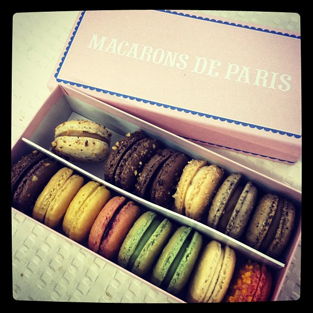 Afternoon treat! Thanks @tracy_sun. #yum #macaron #dessert