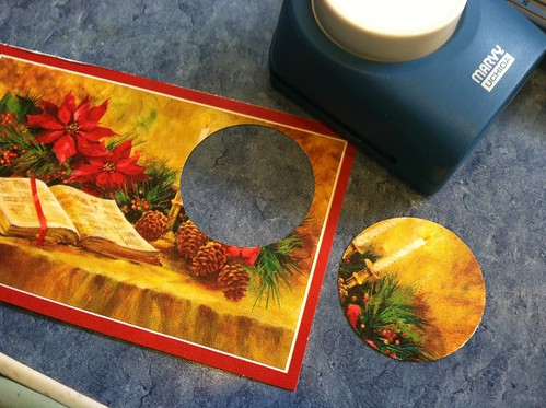 circle punched Christmas cards