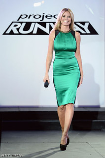 heidi klum green satin dress