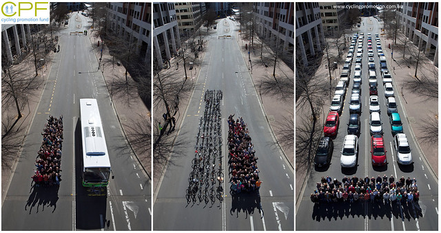 69 people, by bus, on bikes, or in 60 cars