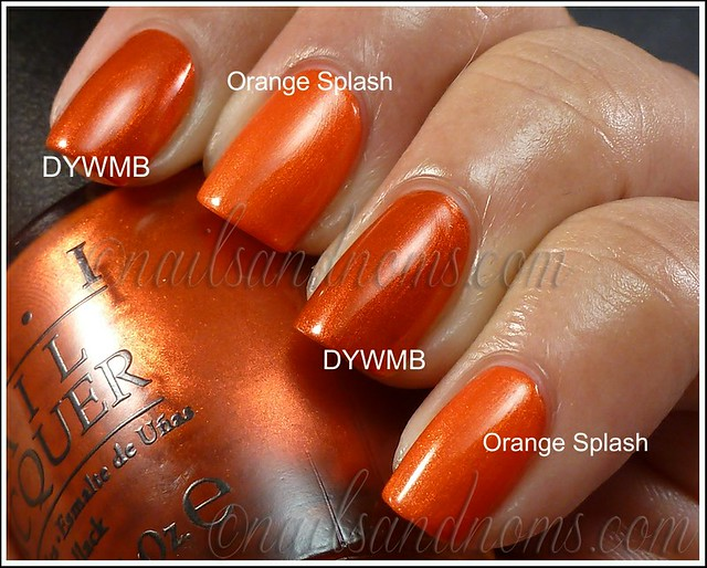 OPI Deustch You Want Me Baby vs Sally Hansen Insta Dri Orange Splash