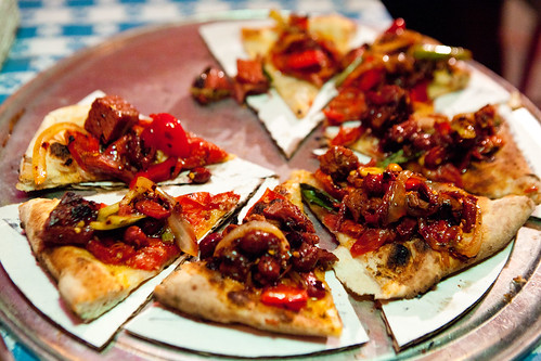 The Spicy pastrami pizza (PizzaMoto & Danny Bowien of Mission Chinese collaboration)
