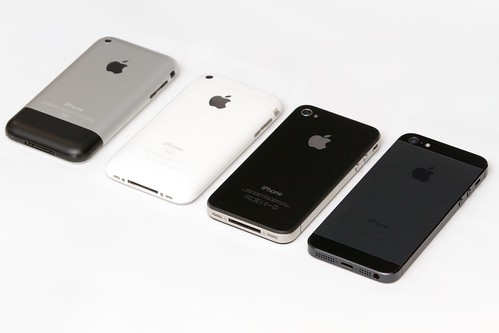 Four Generations of iPhone: Original + 3G + 4 + 5