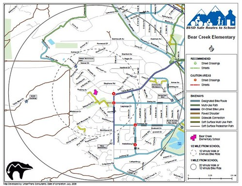 Bear Creek Elementary School, Boulder, CO, walk to school map
