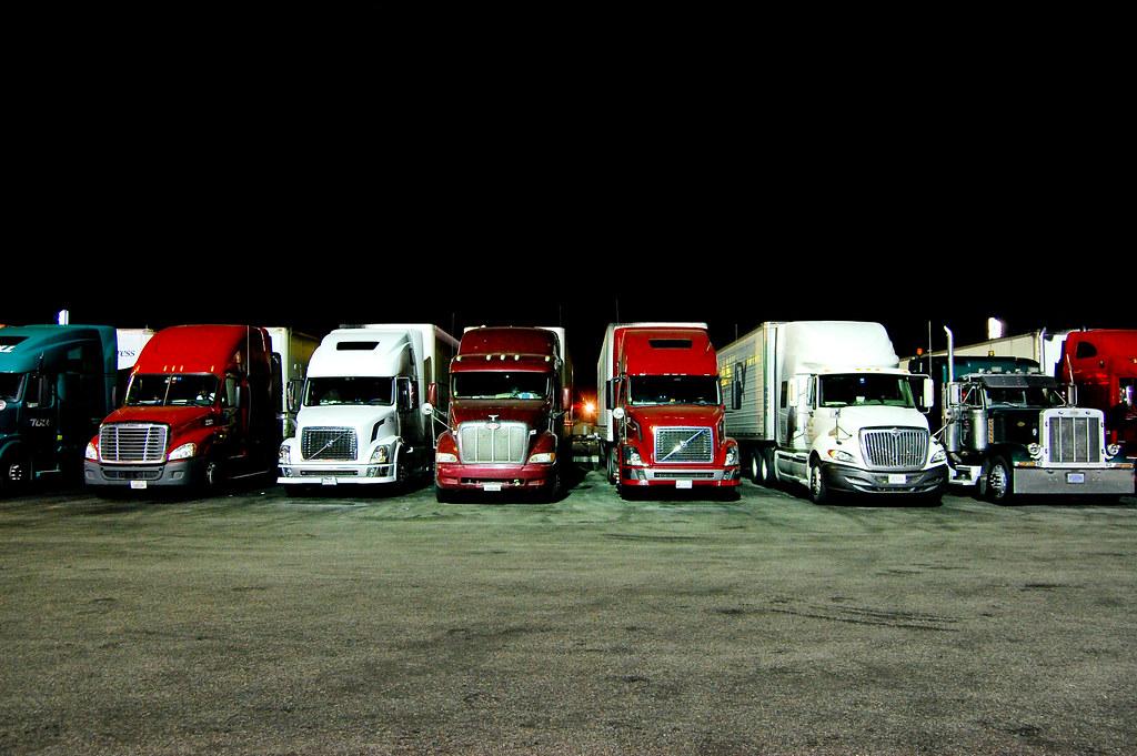 Nighttime Truck Stop