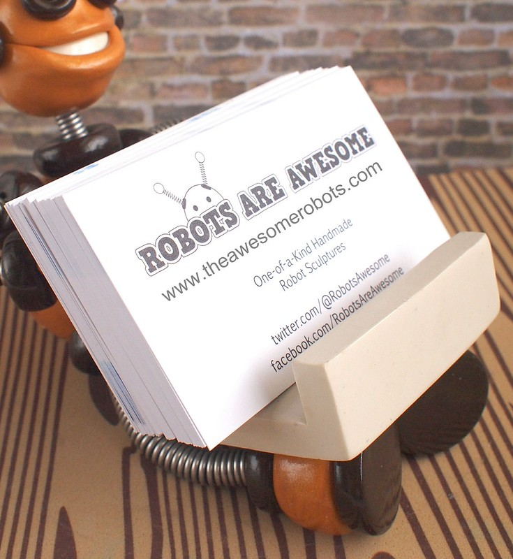 Golden Gyro Robot Business Card Holder