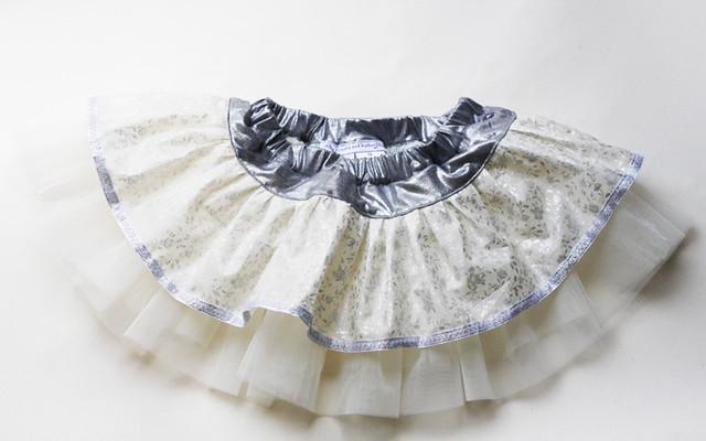 silver white skirt