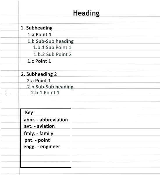 how to make subheadings for report