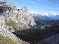 Sassongher, gesehen beim Abstieg von der Puez-Gruppe