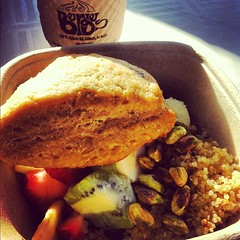 Bergie's Coffee and Uprooted quinoa breakfast and lemon and rosemary scone. #vegan