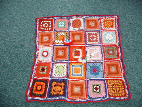 Thanks to 'The Wool Stop' for assembling this Blanket. Thanks to everyone for contributing these Squares!