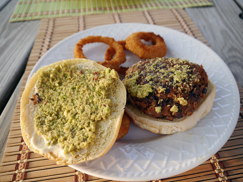 Black Bean Burger with Onion Rings from Vegan Junk Food (0031)