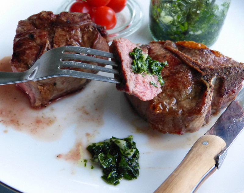 Cinnamon crusted lamb chops with mint chimichurri