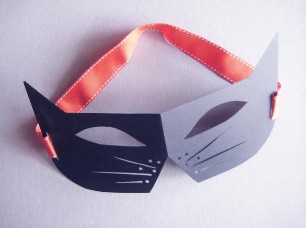 Halloween Flashback Black Cat Paper Mask Template