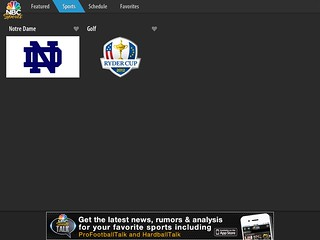 screenshot of the NBC Sports App for the iPad