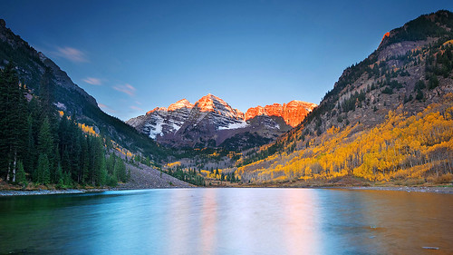 autumn lake fall sunrise colorado maroon foliage aspen