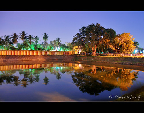 old longexposure blue trees india reflection rural reflections temple pond nikon south hour 1855mm hindu chennai tamil nadu d40 madambakkam dhenupureeswarar kanchipuramdistrict