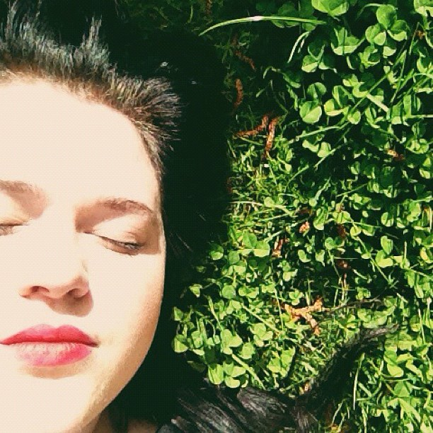 Lying in the grass in the sun