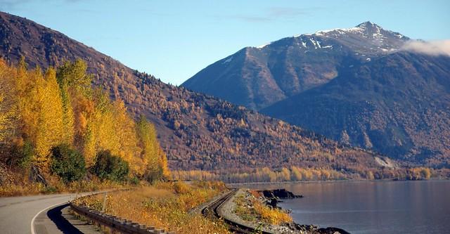 Autumn colours Seward Highway near Anchorage, Alaska