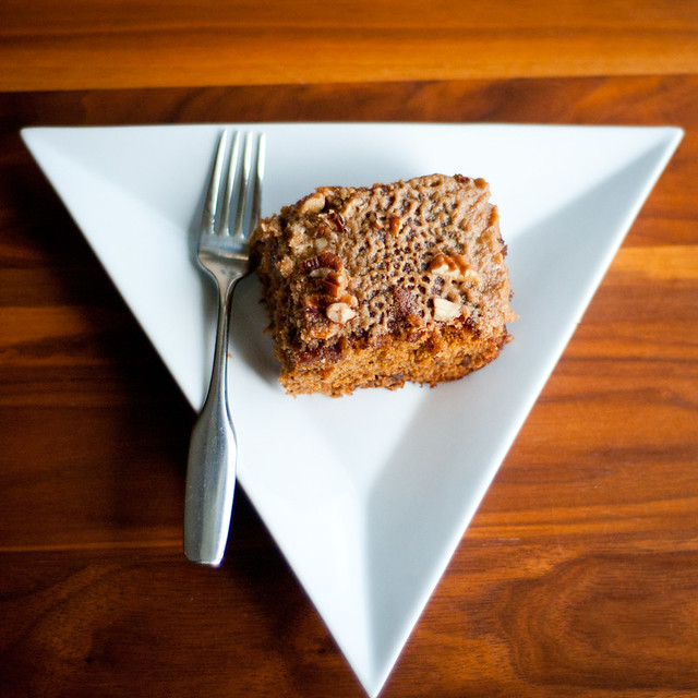 caramel-date cake with pecans